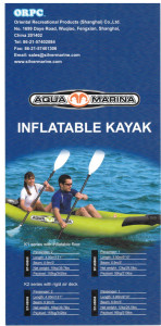 Brand New Aqua Marina K2 2 person inflatable kayak package with 2 breakdown paddles, 2 backrests, a double action hand pump and a carry bag.