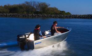 Brand new Savage 385, 425 and 445 Kestrel heavy duty tiller steer open aluminium boats.