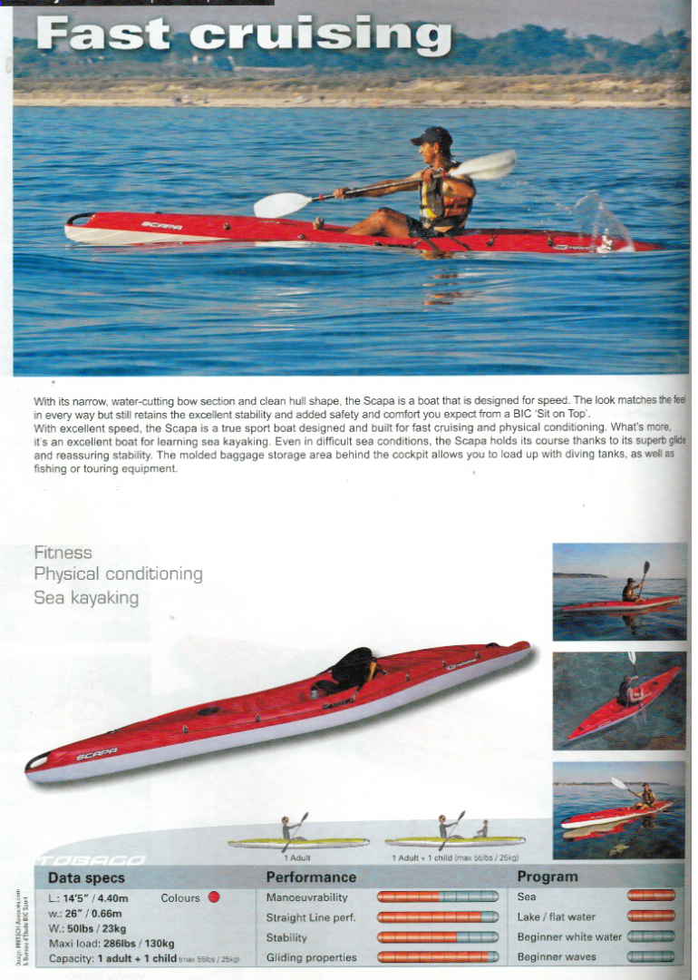 Brand new BIC Scapa sit on top touring kayak which offers