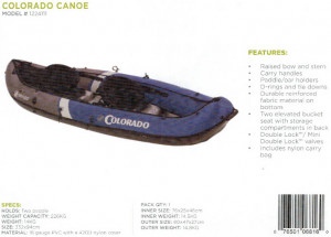 Brand New Sevylor Colorado 2 person Inflatable Canoe/Kayak. Reduced by $150 while stocks last!!!