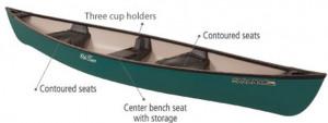 Brand new polyethylene Old Town Saranac 146 XT 3 seater canadian canoe.