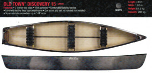Brand new Old Town (Canadian made) Discovery 15 Square back 3 seater canoe.