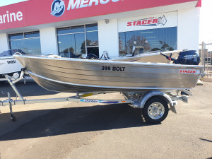399 Bolt Stacer, trailer & 15hp Mercury 4 stroke