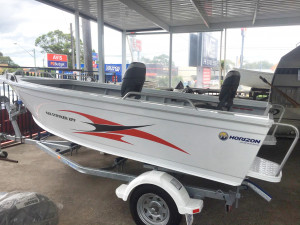 Brand new Horizon 438 Stryker XPF deluxe tiller steer aluminium boat with deluxe pedestal seating in stock and reduced by $1130 to sell.