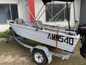 USED 3.6M MANTACRAFT WITH 15HP MERCURY 2-STROKE OUTBOARD