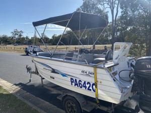 USED 2005 4.75 SEAJAY HAVEN SPORTS SIDE CONSOLE FISHING BOAT WITH 60HP YAMAHA 4-STROKE (530hrs)