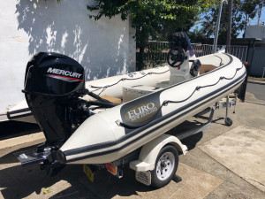 EURO NZ 4.6m side console aluminium RIB (Ex Demo) with Brand new Mercury 60hp EFI 4 stroke outboard with a 6 year warranty on a Sales trailer with 12 months rego.