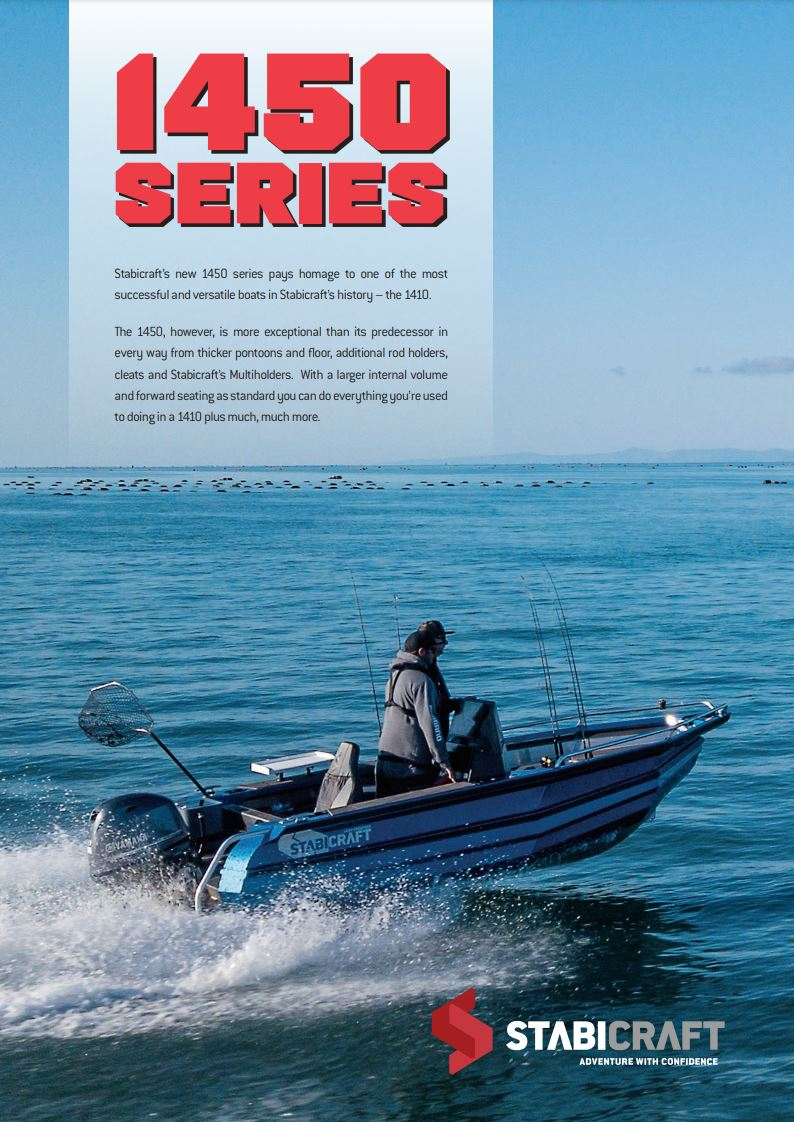 Stabicraft's new 1450 series pays homage to one of the most successful and versatile boats in Stabicraft's history – the 1410. The 1450, however, is more exceptional than its predecessor in every way from thicker pontoons and floor, additional rod holders, cleats and Stabicraft's Multiholders. With a larger internal volume and forward seating as standard you can do everything you're used to doing in a 1410 plus much, much more.