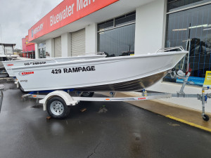 429 Rampage Stacer painted white, alloy trailer & 40hp Mercury four stroke